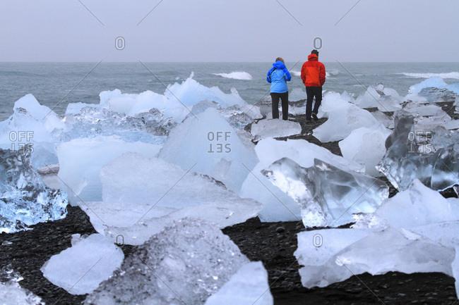 Iceland, chunks of ice on the shore of Jokussarlon