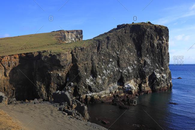 Iceland, Sudurnes, Valahnjukur cliffs on Reykjanes peninsula.
