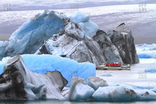 August 9, 2015: Iceland, Sudurland. Jokulsarlon lagoon