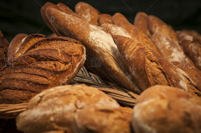 South West France, Bordeaux, round loaves and baguettes display