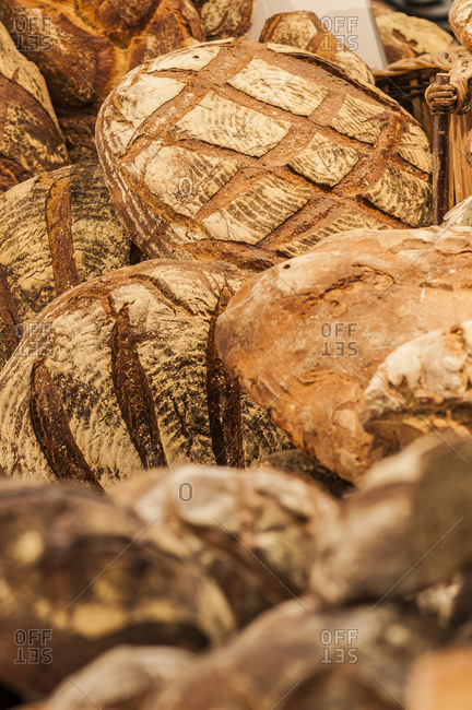 South West France, Bordeaux, round loaves display