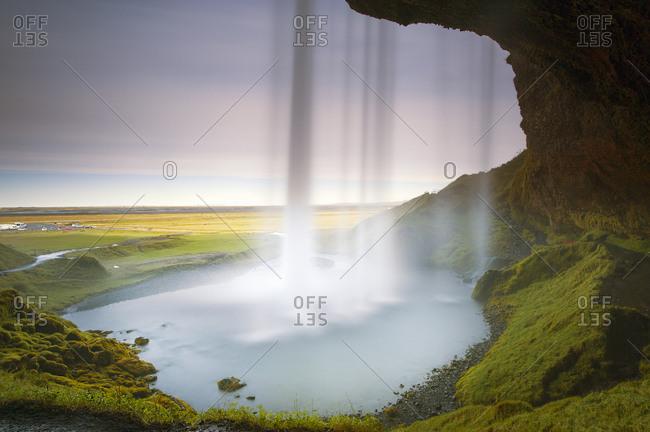 Iceland, Seljalandsfoss waterfall, view from the inside