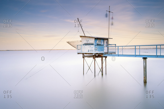 May 27, 2012: South West France, Pauillac, fisher hut at sunset