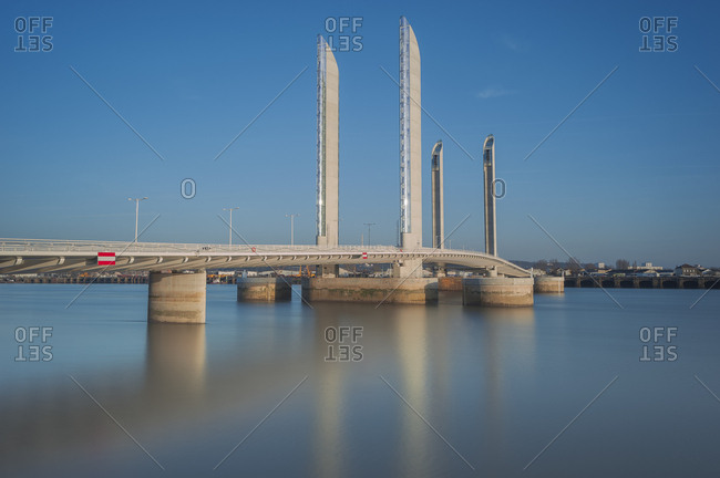 March 3, 2013: South West France, Bordeaux, Chaban Delmas vertical-lift bridge at sunset, Side view (architects: Thomas Lavigne, Charles Lavigne, Christophe Cheron)