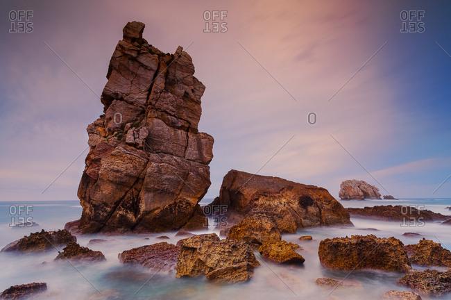 Spain, Liencres, Los Urros boulders at sunset