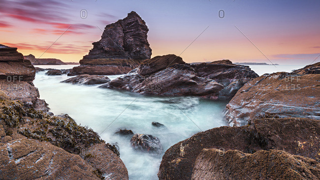 France, Finistere, Crozon, Islet of the Capuchins at sunrise