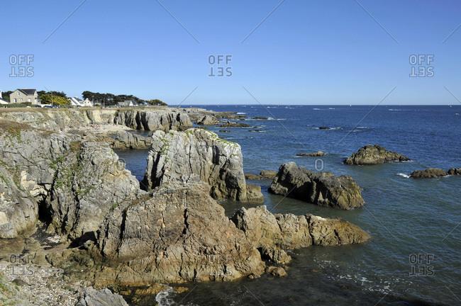 France, Pays de la Loire region, Loire-Atlantique department, wild coast at Le Pouliguen on Atlantic coast.