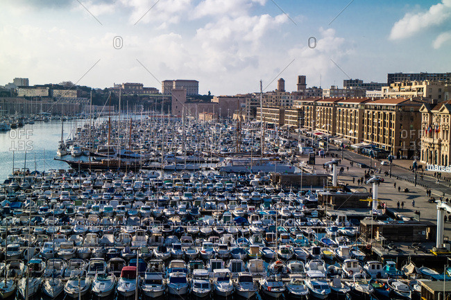 December 22, 2015: France,Marseille,view on the historical old harbour