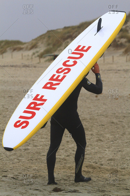 October 27, 2016: France, Brittany, Finistere. Lifeguard training