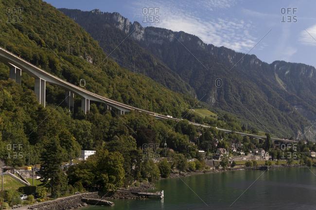 Switzerland, Canton of Vaud, region of Leman, highway 9 (E27) seen from lake Geneva