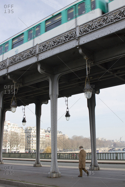 February 19, 2017: France, Paris, Bir-Hakeim Bridge, pedestrian and aerial metro in winter.