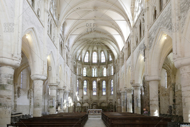 April 2, 2017: Seine et Marne. Crecy the Chapel. Collegiate Church Notre-Dame-de-l'assomption.