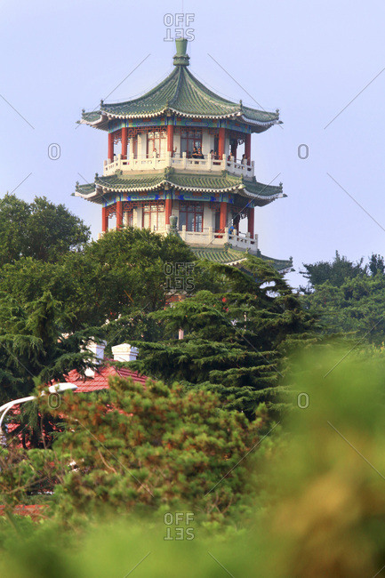 August 15, 2016: Asia, China, Shandong Province, Qingdao. Temple in Xiao Yushan Park. Little fish hill