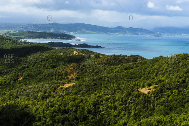 View from the lighthouse of the Caravelle's peninsula, Martinique, France
