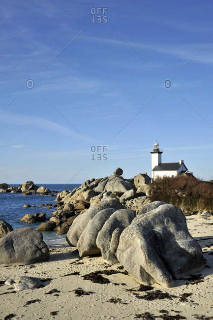 France, Brittany region, Finistere department, sea side at Brignogan-Plages city, lighthouse and beach at the tip of Pontusval.