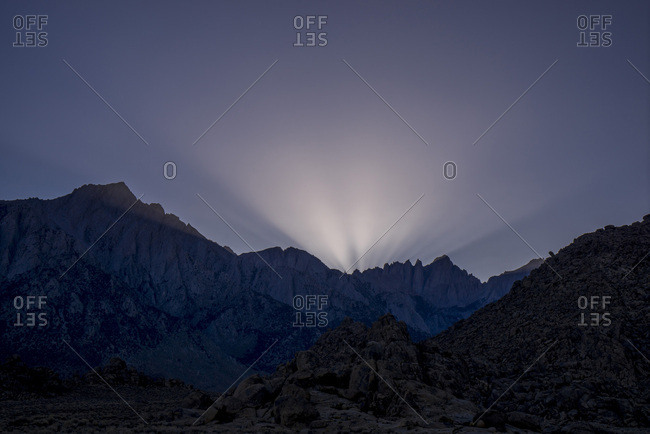 USA, California, Lone Pine,  Alabama Hills at twilight