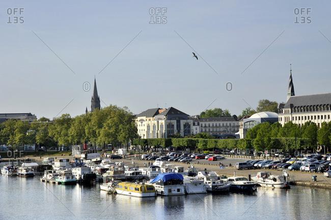 November 15, 2017: France, region of Pays de La Loire, Loire-Atlantique department, Nantes city, boats moored on canal of Saint-Felix.