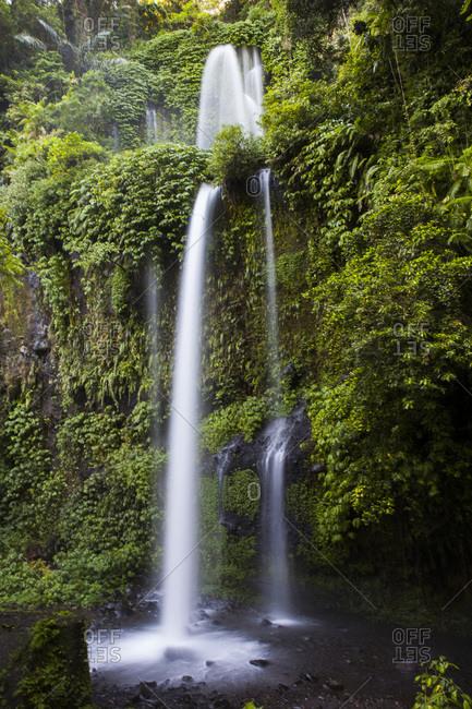 Waterfall in rainforest Senaru, Lombok, Indonesia