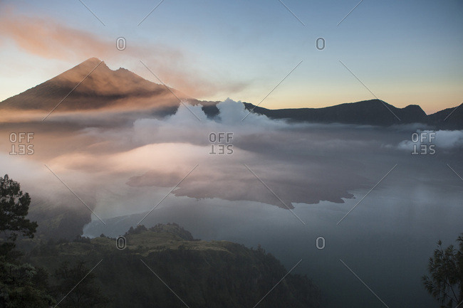 Lake Segara Anak and Gunung Rinjani Volcano at dawn, Lombok, Indonesia