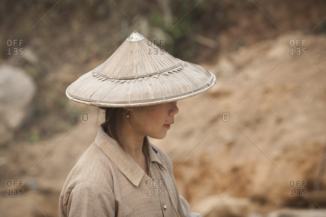 March 15, 2017: Woman on a construction site, Hsipaw or Thibaw, Burma