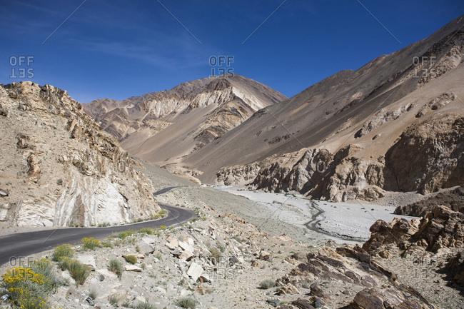 Road between Lake Pangong Tso and the city of Leh, Ladakh, India