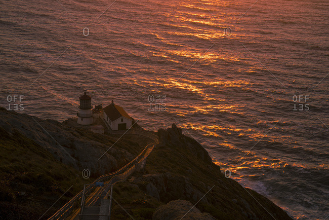 USA, California,  Marin County, Point Reyes, Point Reyes National Seashore, sunset at the lighthouse