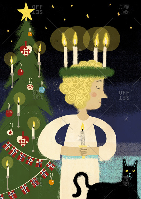 Christmas tree and person wearing a candle crown