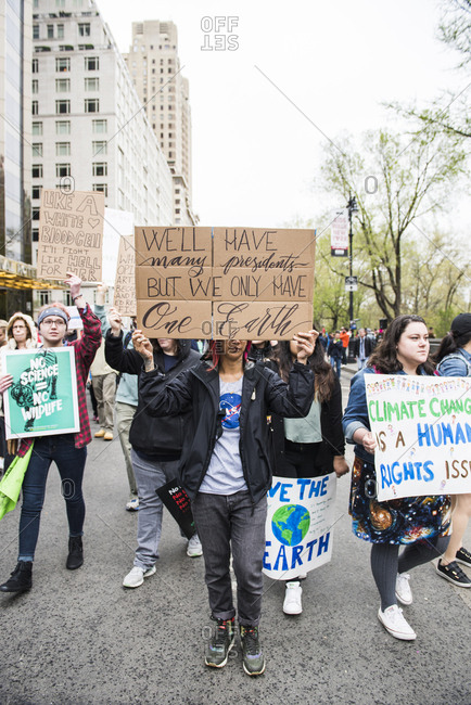 New York City, New York, USA - April 22, 2017: March for Science in the streets of New York