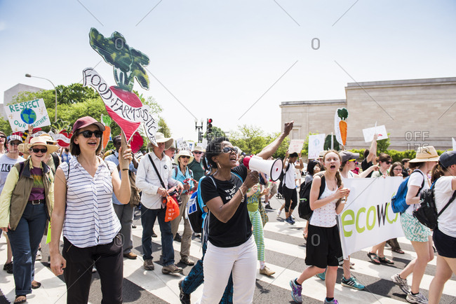 Washington D.C, USA - April 29, 2017: Food and Farm Justice groups march at The People's Climate March