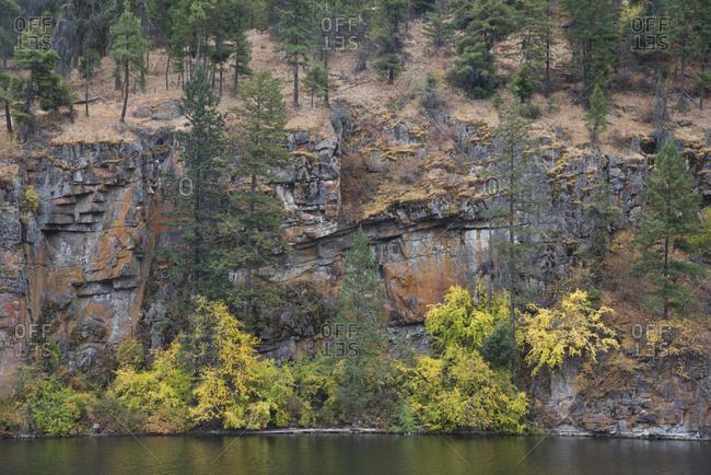 Rocky cliff in fall in the Okanagan Valley, British Columbia, Canada