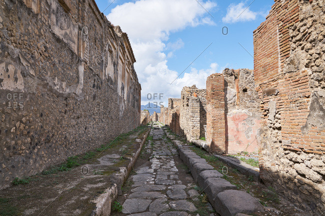 Paved road in the ancient city of Pompeii