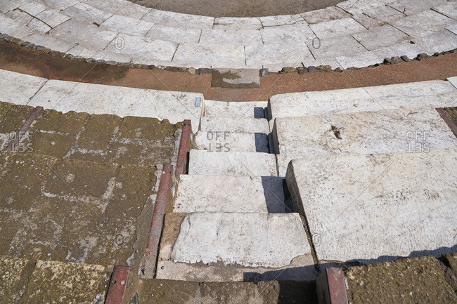 Steps at the site of the ancient city of Pompeii