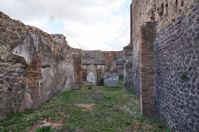 Stone walls in the ancient city of Pompeii