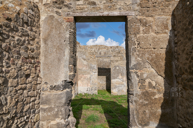 Doorway in ancient stone building at the archaeological site of Pompeii