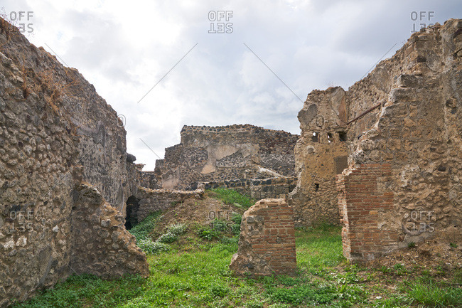 Ruins of ancient buildings at the archaeological site of Pompeii