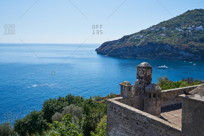 View of Mediterranean Sea from historic castle in Italy