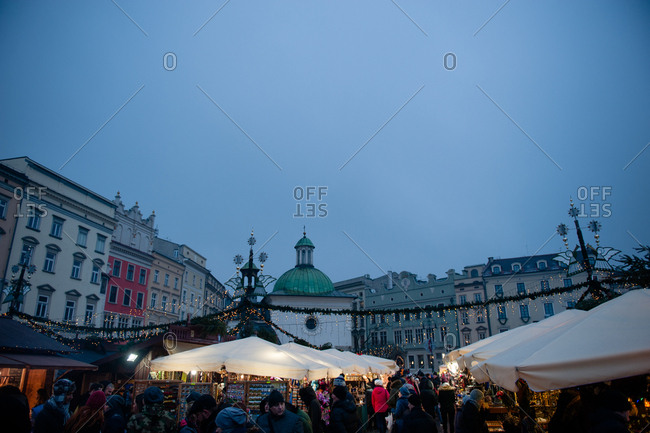 Krakow, Poland - December 18, 2016: Christmas Market at night in Krakow's main square