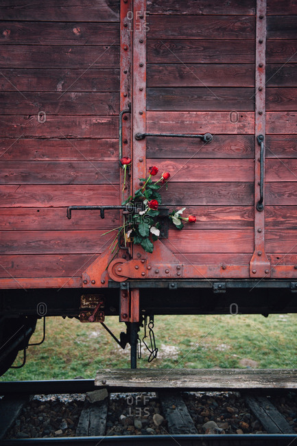Original railway carriage at Judenrampe platform at Auschwitz-Birkenau
