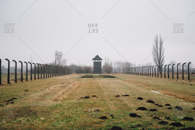 Guard tower at Auschwitz-Birkenau