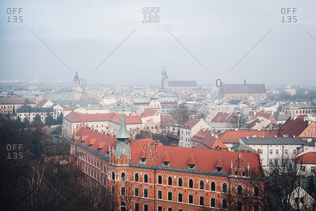 Bird's eye view of the city of Krakow, Poland
