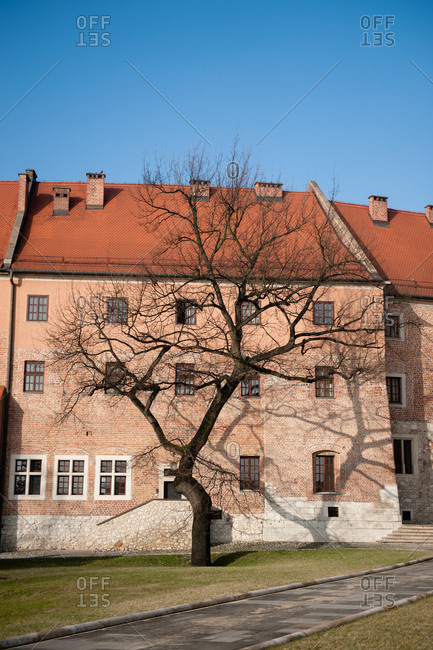 Brick building in the Wawel Cathedral complex in Krakow, Poland