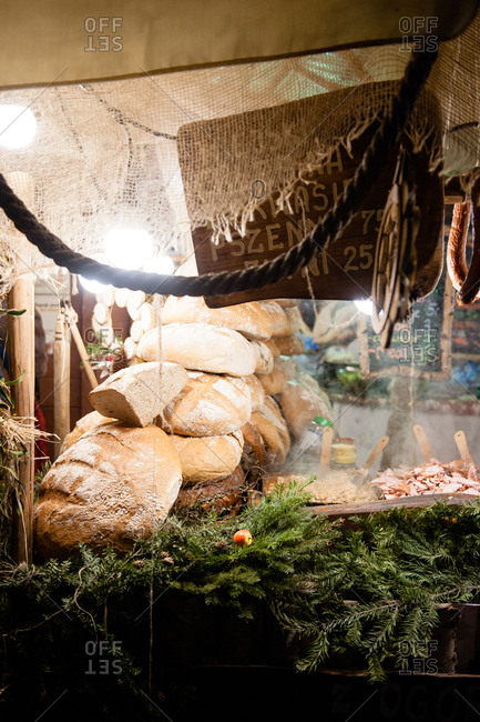 Loaves of bread in the Christmas market in Krakow, Poland