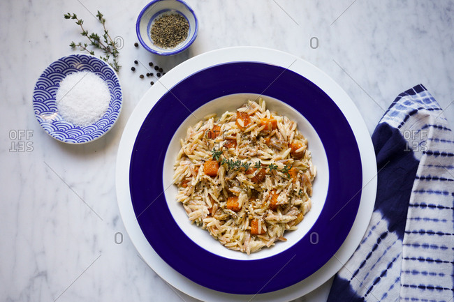 Orzo pasta with butternut squash