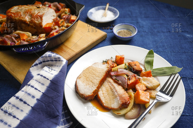 Pork roast and vegetables