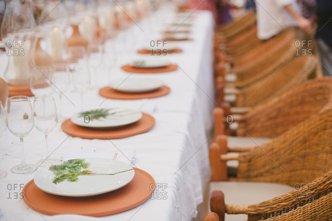 Detail of set table for wedding reception