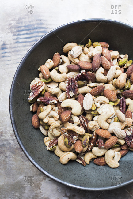 Close up of mixed nuts in a bowl