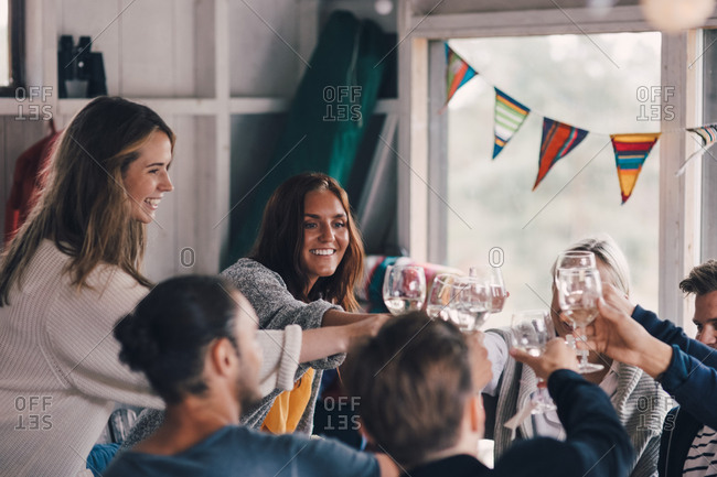 Young friends toasting wineglasses while sitting at home