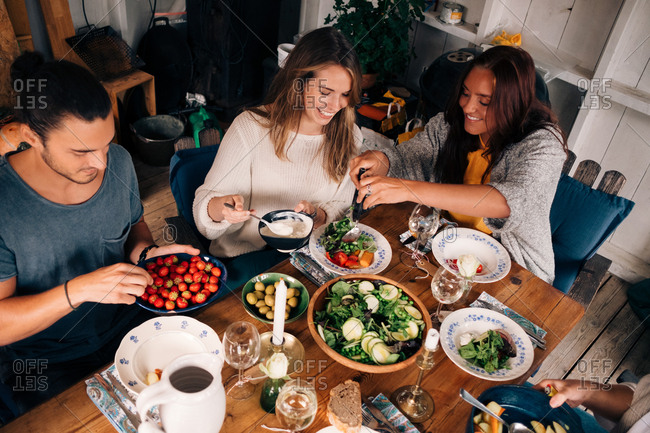 High angle view of women and men having healthy salad in cottage