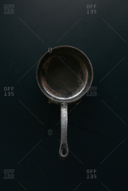 Frying pan on black background