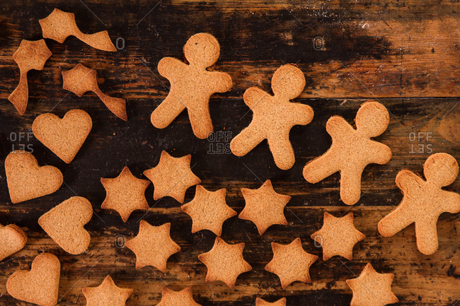 top view of gingerbread christmas cookies on wooden table